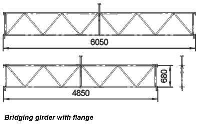 Bridging beams with flange